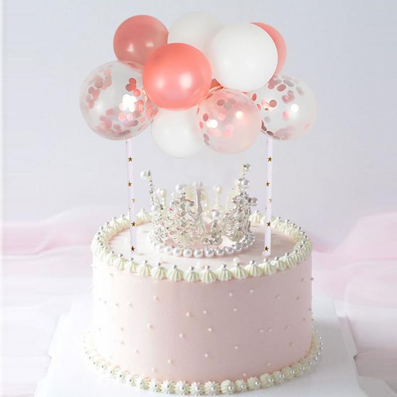 Amazing 5Inch Mini Colorful Latex Balloon Cake Topper With Rope Straws Funny Birthday Cards Online Amentibdeldamsfinfo