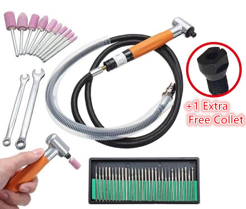 3mm 90 Degree Air Grinder Pneumatic Tool Micro Grinder Grinding Polishing Tool Set Metal Cutting Abrasive Tools Mayitr