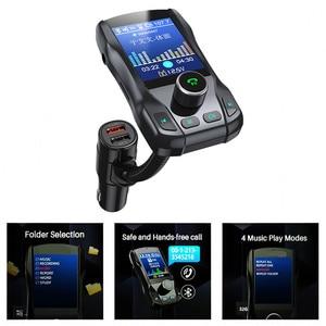 Image 2 - Caricabatterie per auto Kit vivavoce Wireless Bluetooth 350 ruotabile Car MP3 Audio 5V 2.1A Dual USB carica schermo a colori trasmettitore FM
