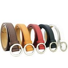 Women Belts No Hole Round Buckle Simple Korea Fashion Waist Band Streetwear Jeans Accessories High Quality Designer Belt