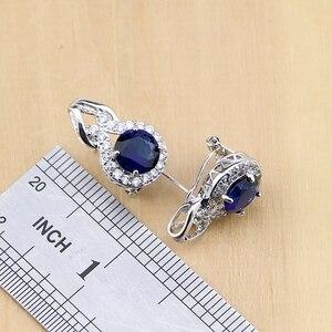 Image 4 - 925 Zilveren Sieraden Blauwe Zirconia Sieraden Witte Zirkonia Vrouwen Oorbel Hanger Ketting Ringen Armband Partij Sieraden Sets
