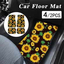 4/2Pcs Car Floor Mat Sunflower Mats for Carpets Yellow Floral SUV Front Rugs Sun Flower Foot Cover Cushion