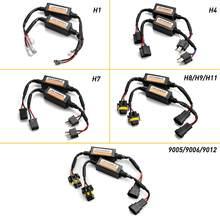 Lâmpada decodificadora de erro, 2 peças, h4, h7, h8, h11 9005, hb3/9006, hb4, led, resistor, 50w, canbus, fio com cancelador de erro adaptador para farol automotivo