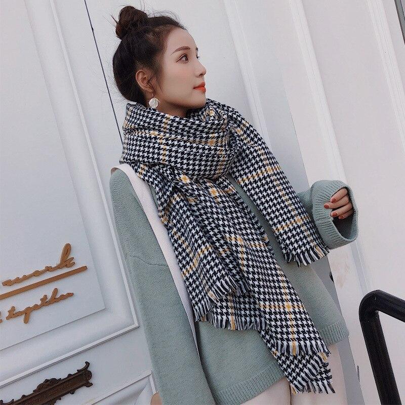 200*95cm Autumn Winter Female Plaid   Scarf   Women Cashmere   Scarves   Small Lattice Long Shawl   Wrap   Blanket Warm Tippet