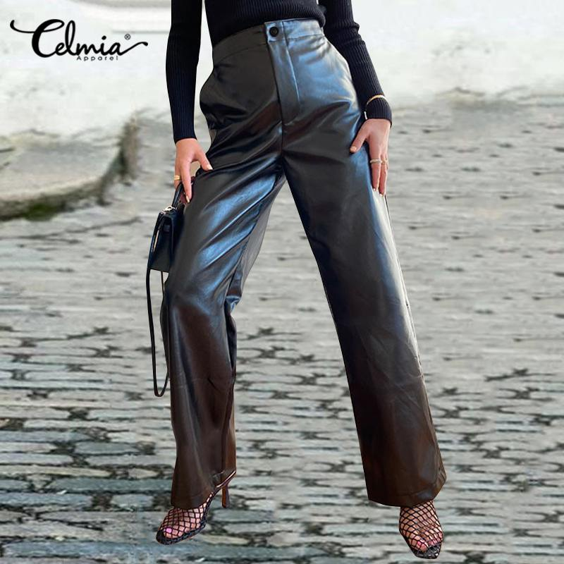 Celmia PU Leather Women Pants 2020 Fashion High Waist S-5XL Long Palazzo Solid Wide Leg Trousers Casual Loose Pantalon Femme
