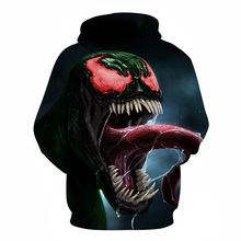 DM2019 Explosion Models Fashion Festival Costume Venom Role Play 3D Digital Printing Net Red Hooded Mens Sweater Coat Halloween