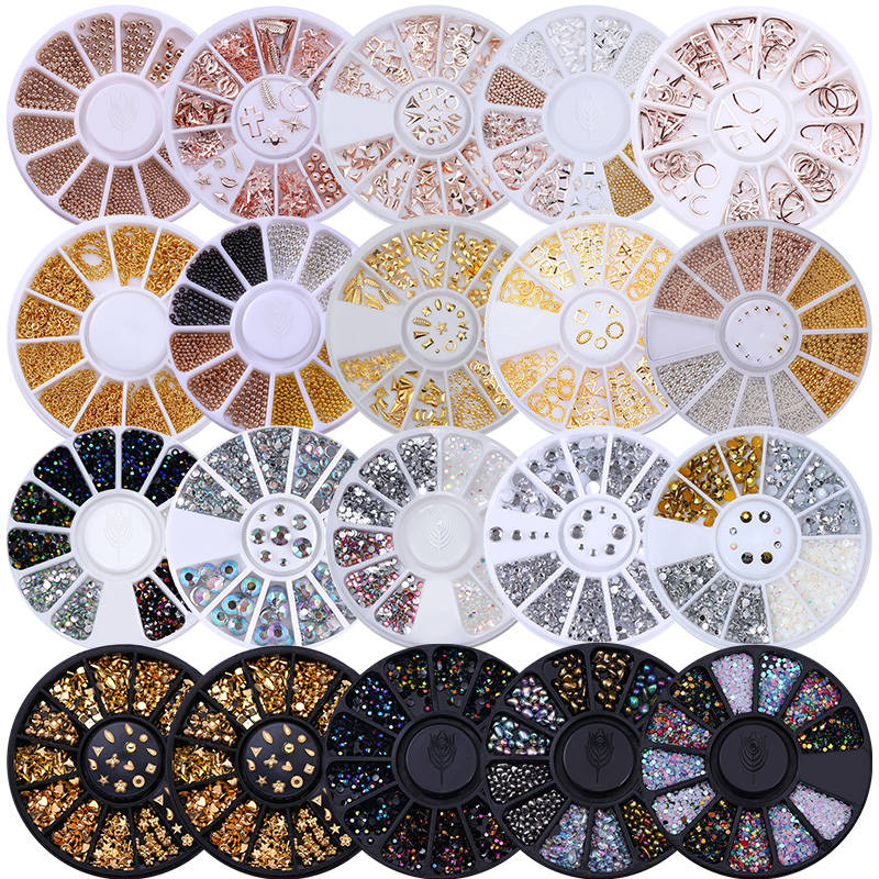 Nail Rhinestone Tips Decoration-Stone Irregular-Beads Glitter Mixed-Color In-Wheel Small