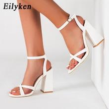 Eilyken Women Fashion Buckle Strap Square High Heels Sandals Summer Peep Toe Lad