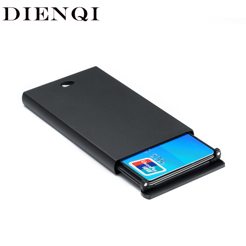 DIENQI Rfid Card Holder Men Wallets Magic Male Vintage Black Short Purse 2019 Small Metal Slim Wallets Mini Wallets Thin Vallet