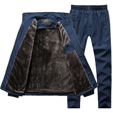 Winter Sportswear Men Tracksuit Thick Warm Winter Parka Two Piece Clothing Set Fur Lining Fleece Track Suit Men Dropshipping