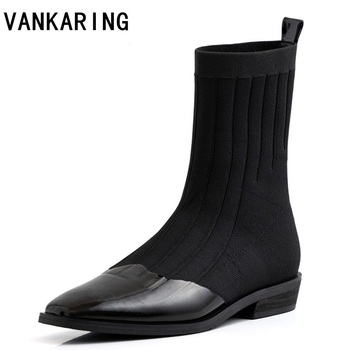 patent leather+ elastic women ankle sock boots fashion thick heel autumn winter slip-on woman martin ankle boots female shoes
