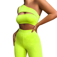 Hirigin Women´s Sports Two Piece Set Sexy Hollow One Shoulder Short Pullover Top High Waist Tight Shorts Casual Outfits Set(China)