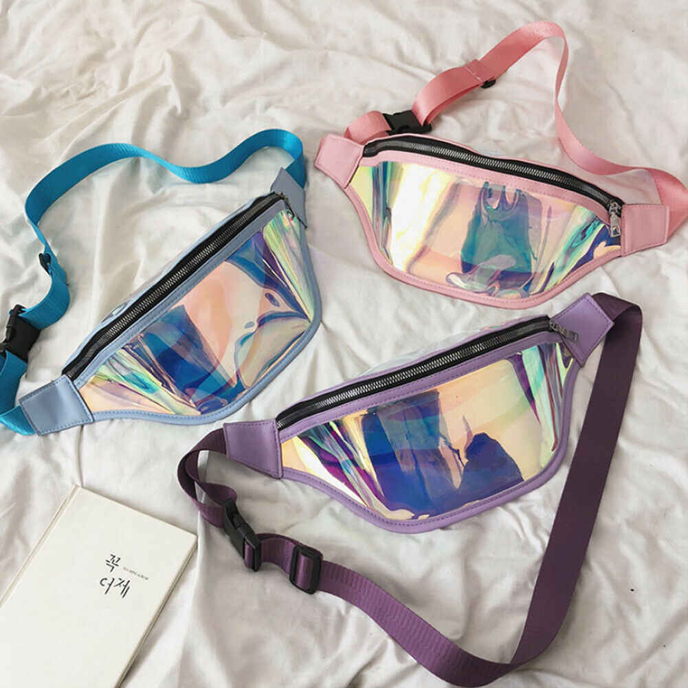 Womens Laser Transparent Travel Waist Pack Festival Money Belt Wallet Pouch Bags Phone Pocket 2019 Newest