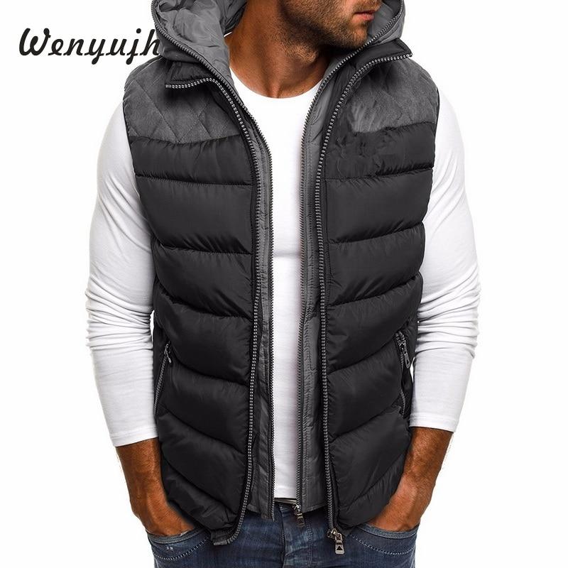 Wenyujh Winter Coat Vest Men Warm Sleeveless Jacket Casual Waistcoat Cotton Hooded Coat 5XL Plus Size Duck Down Jacket Men Vest