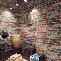 Vintage Waterproof Pvc 3d Stone Effect Wall Paper For Kitchen Restaurant Cafe Bar Red Brick Wall Decor Wallpaper Papel De Parede