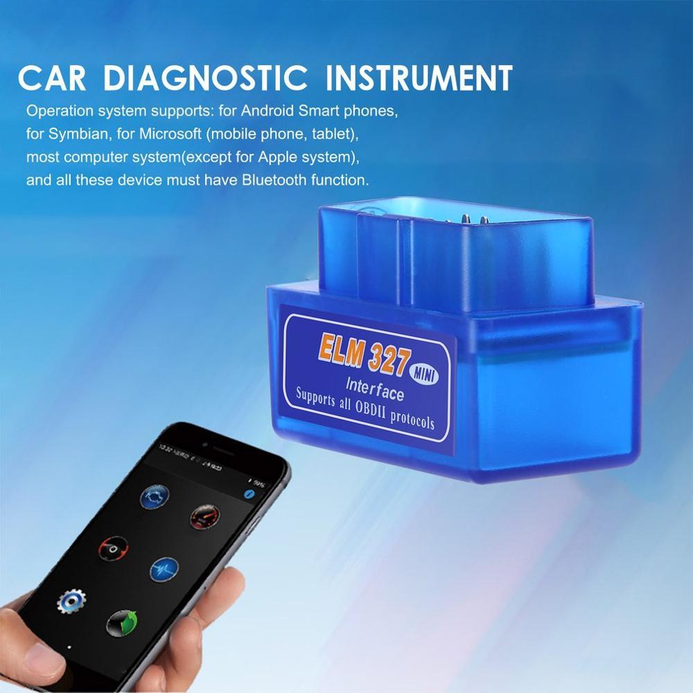 New Hot Super Mini Portable ELM327 Bluetooth V2.1 OBD II Car Diagnostic Auto Interface Scanner Blue Premium ABS Diagnostic Tool(China)