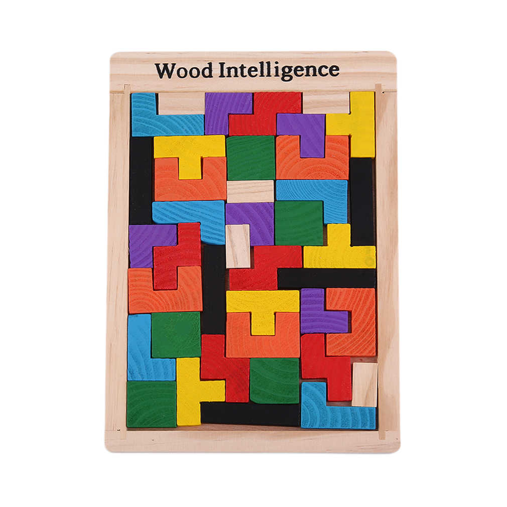 Colorful Wooden Tetris Puzzle Tangram Brain Teaser Puzzle Toys Educational Kid Toy Children Gift Brain Teaser
