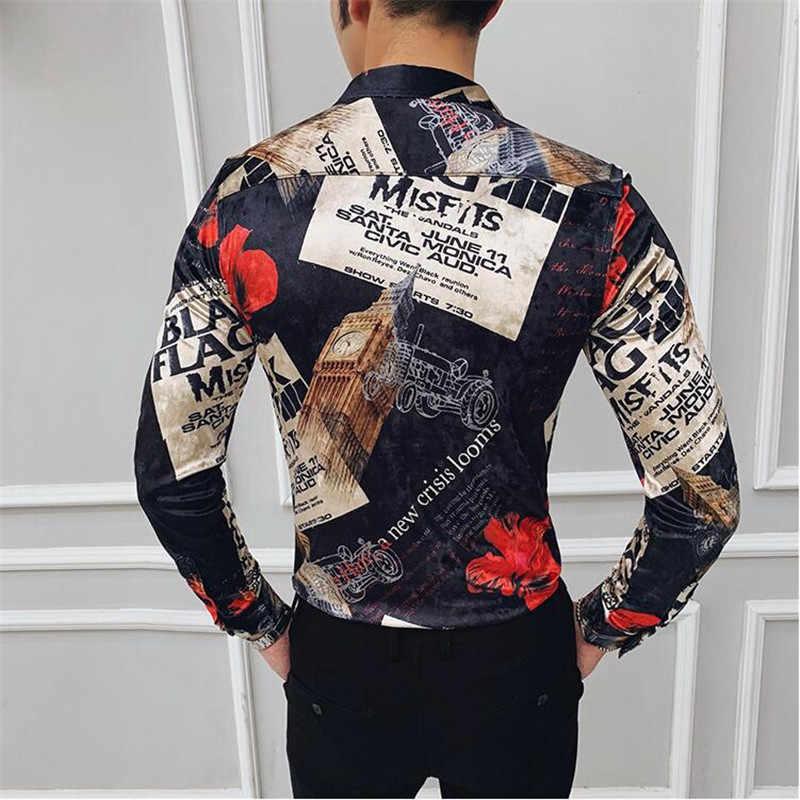 Moda marca club camisa invierno hombres grueso oro terciopelo Delgado impreso camisa Chemise Homme Royal barroco ropa de hombre plus tamaño