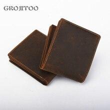 GEOJITOO Genuine Leather Men's Wallet Men's Short Purser Business First Layer Cowhide Wallet Vintage Men's Card Pocket