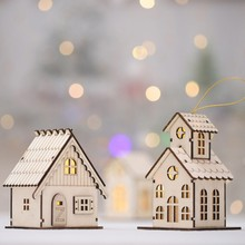 Get more info on the PMini LED Wooden Light House Christmas Wooden House Wall Decor Christmas Tree Hanging Ornaments Xmas Party Wall Door Decor CM