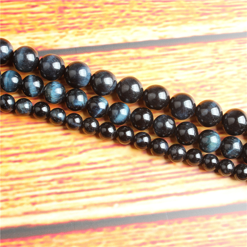 Blue Tiger Natural Stone Bead Round Loose Spaced Beads 15 Inch Strand 4/6/8 / 10mm For Jewelry Making DIY Bracelet Necklace