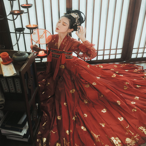 Image 4 - Red Hanfu Dress Folk Dance Costume Chinese Traditional National Fairy Costume Ancient Han Dynasty Princess Stage Outfits SL1719