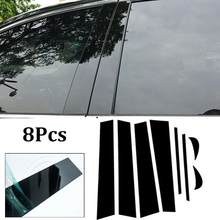 新8ピース/セットbc柱カバードア車の窓黒トリムストリップpvc実用トヨタカムリためにインストールが簡単2018卸売csv