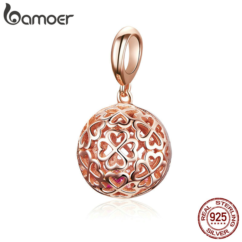 BAMOER High Quality 925 Sterling Silver Flower Cage Pendant Charms Rose Gold Color Charms Fit Necklaces Bracelet Jewelry SCC1127