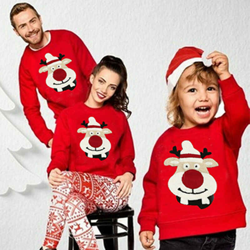 Family Matching Mom Kid Men Women Baby Kids Christmas Sweater Sweatshirt Pullover Tops Jumper Blouse Deer Xmas Christmas Warm