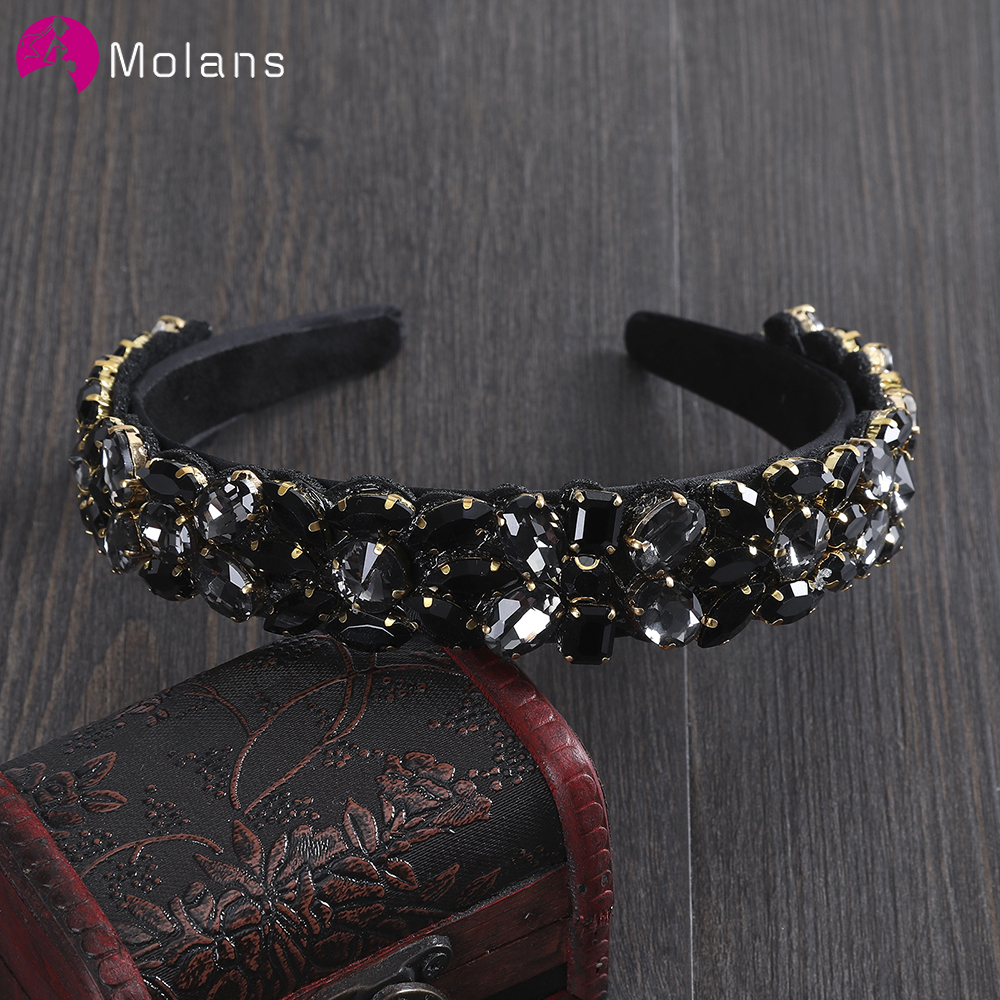 MOLANS 2020 Baroque Style Diamond Wedding Hair Hoop Solid Color Hair Accessories Pure Elegant Bridal Headband Hair Band
