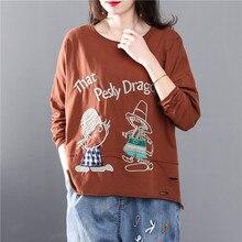 2020 primavera otoño nuevo de manga larga de cuello redondo de dibujos animados bordado Casual suelta Camiseta de algodón de gran tamaño camisa de mujer ropa