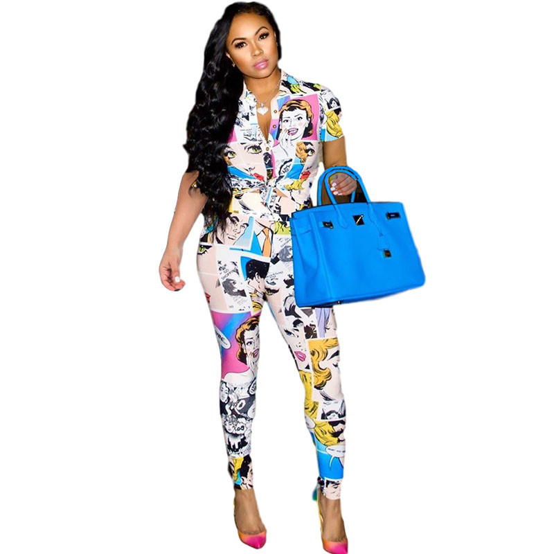 Character Print Two Piece Set Women Turn-down Collar Button Up Shirt Top And Long Pants Suit Matching Sets 2 Piece Club Outfits
