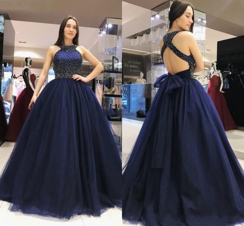 Sweet 16 Dresses Vestidos De Quinceañera Dresses Amazing Navy Blue Ball Gown Quinceanera Dresses Beaded Backless Floor Length
