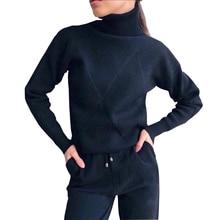 TAOVKฤดูใบไม้ร่วงผู้หญิงถักTracksuitเสื้อกันหนาวชุดลำลองผู้หญิงถักเสื้อกันหนาวและกางเกงยาว 2 ชิ้นชุดหญิง