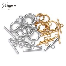 купить 4 Sets Gold Color Fastener Bracelet Toggle Clasp Buckle Connector For Jewelry Making OT Clasps Diy Accessories Wholesale дешево