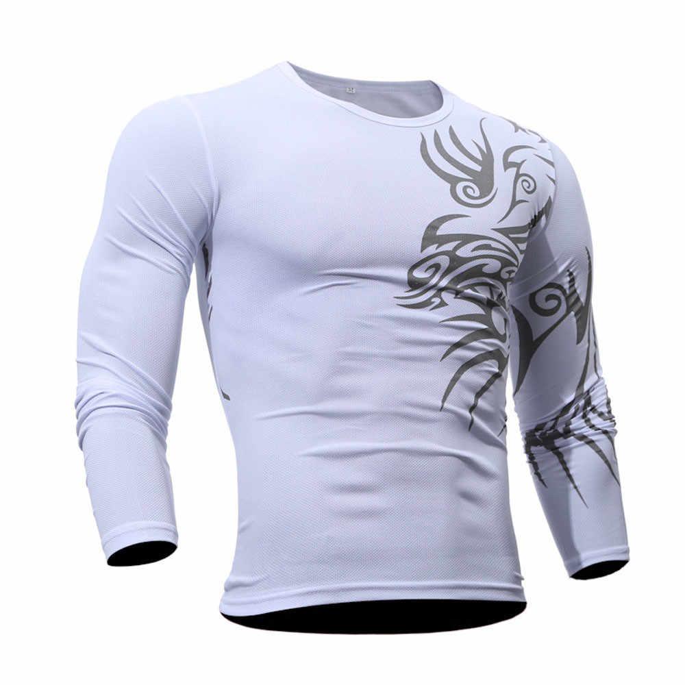 ผู้ชาย T เสื้อ Camisetas พิมพ์กีฬายิมเสื้อ T ชายเสื้อลำลองแขนยาวผู้ชาย Tee เสื้อด้านบน streetwear camisas hombre