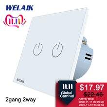 Welaik interruptor de cristal del panel del vidrio interruptor de pared blanco interruptor UE pantalla del interruptor de pared 2gang2way AC110 ~ 250 V a1922CW/b