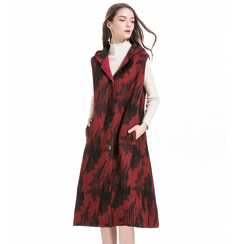 Chaleco con capucha algodón MIYAKE pliegue invierno largo fino algodón abrigo moda popular chaleco envío gratis - 5