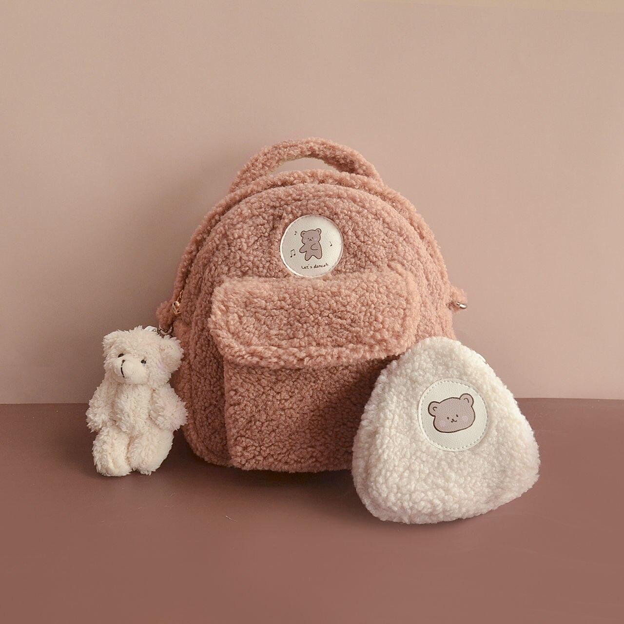 2020 pequeno urso mochila sacos das mulheres nova moda de pelúcia estilo universitário bonito mochila portátil kavaii casual meninas mini saco