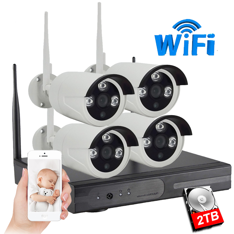 IMPORX 1MP 720P système de vidéosurveillance 4ch sans fil NVR kit 2 to HDD extérieur IR Vision nocturne IP Wifi caméra système de sécurité ensemble de Surveillance