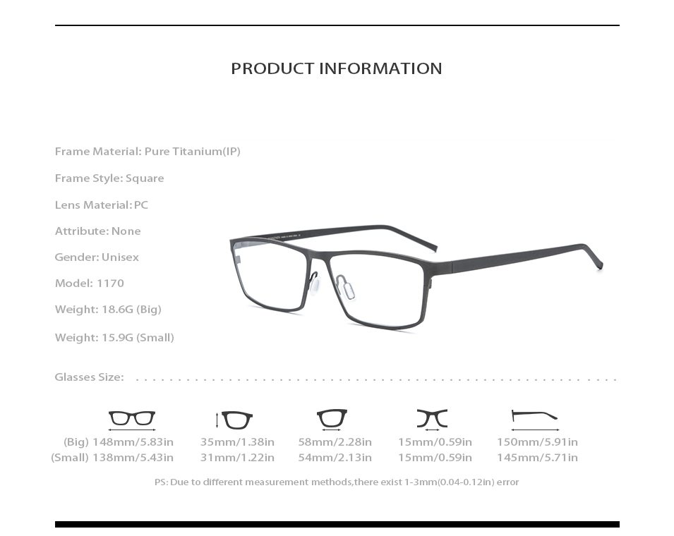 Image 4 - Pure Titanium Eyeglasses Frame Men Square Myopia Optical Frames Eye Glasses for Men Vintage Ultra Light Spectacles Eyewear 1170-in Men's Eyewear Frames from Apparel Accessories