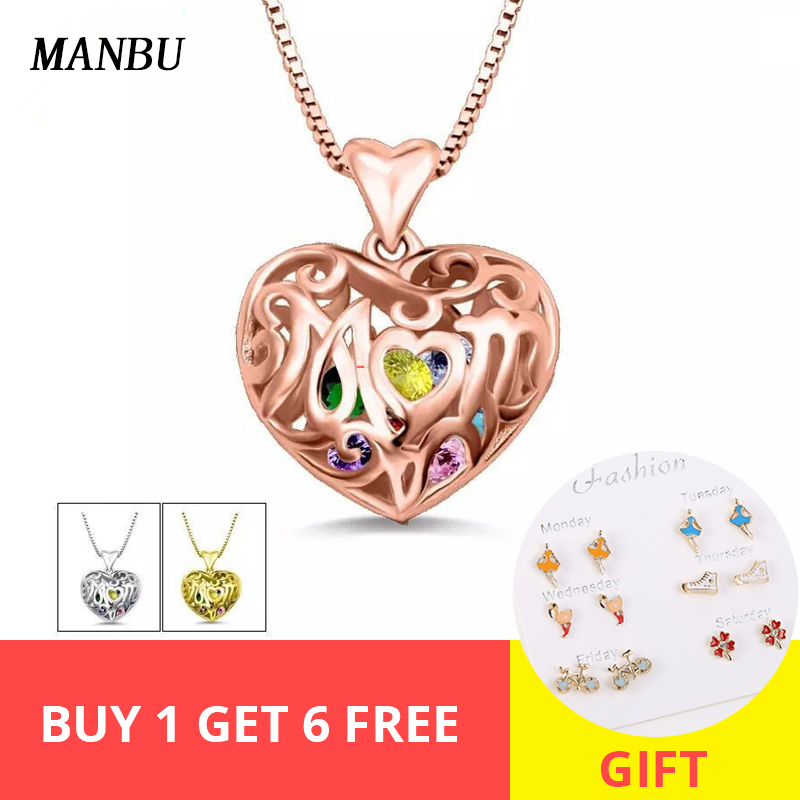 Custom 925 sterling silver fashion jewelry heart cage with birthstone necklace Personalized pendant necklace for women gift Hot in Pendant Necklaces from Jewelry Accessories
