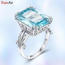 Szjinao prawdziwe 925 srebro akwamaryn pierścienie dla kobiet Sky niebieski Topaz pierścień kamienie szlachetne srebro 925 biżuteria prezent na boże narodzenie