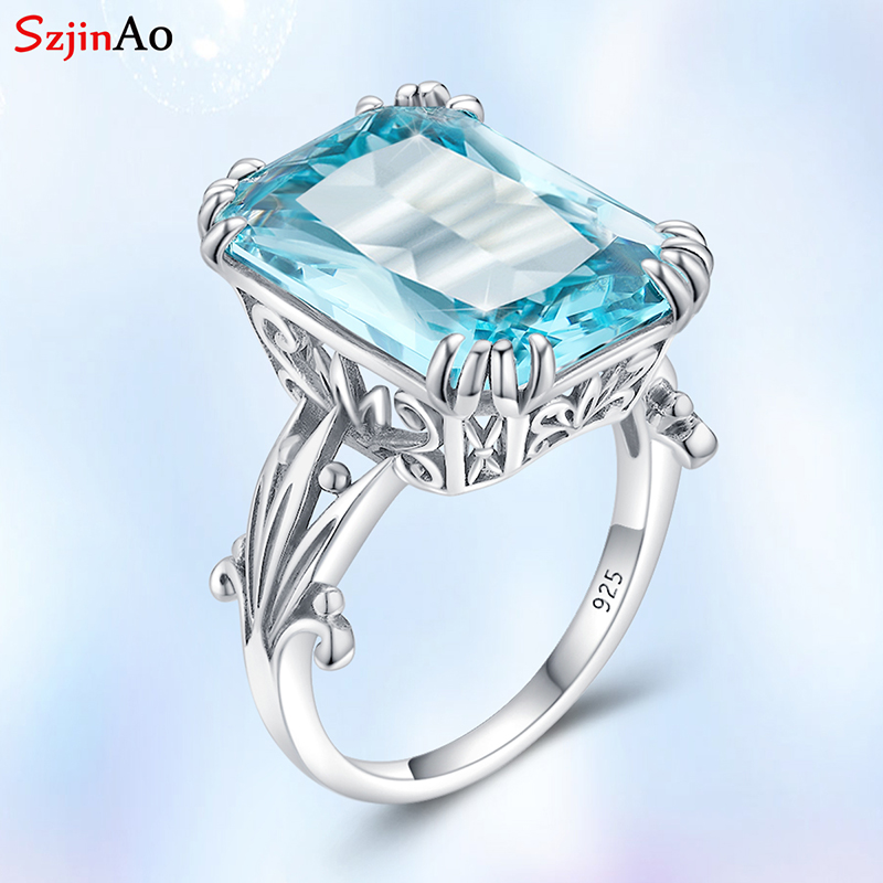 Szjinao Real 925 Sterling Silver Rings For Women 925 Aquamarine Sky Blue Topaz Gemstone Ring Fine Wedding Jewellery Gift