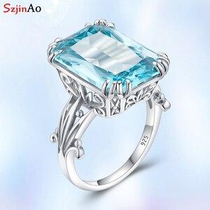 Image 1 - Szjinao gerçek 925 ayar gümüş akuamarin yüzük kadınlar için Sky Blue Topaz yüzük taşlar gümüş 925 takı noel hediyesi