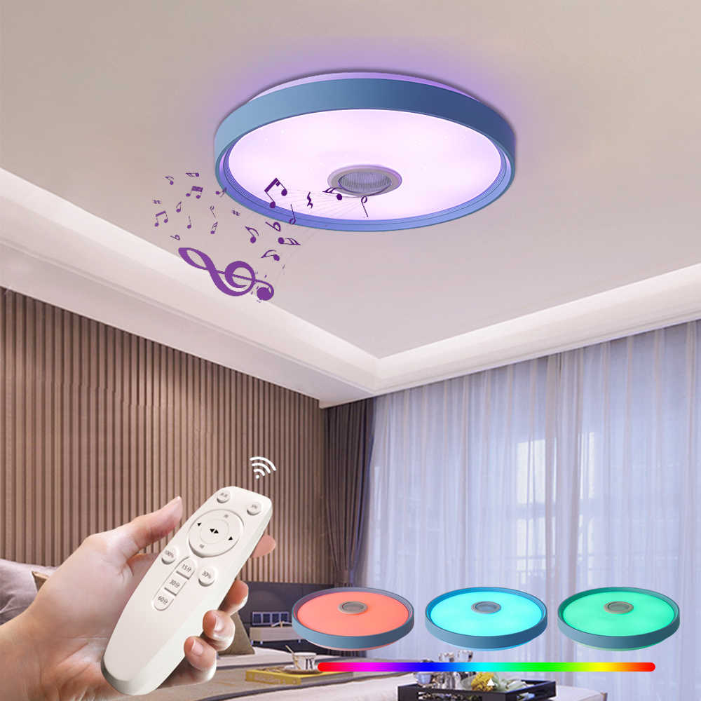Fkl New Rgb Led Music Ceiling Lights With Reomte Control Led Lamps For Party Living Room Bedroom Indoor Light Fixtures 110v 220v Ceiling Lights Aliexpress