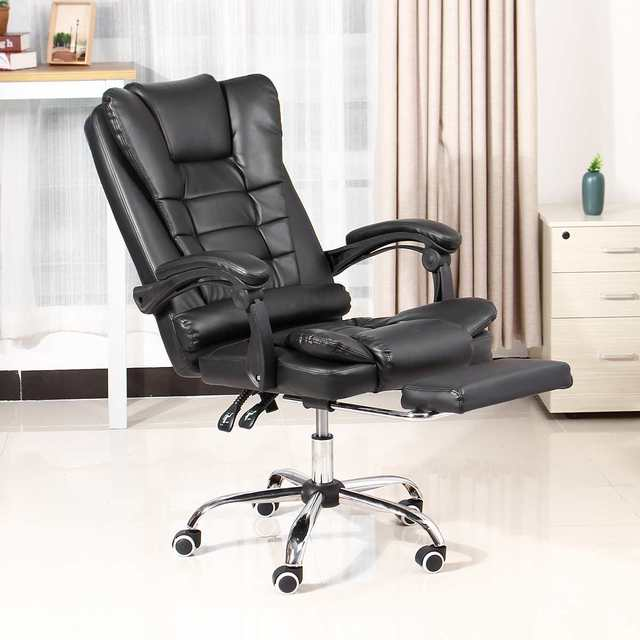 Office Computer Chair Ergonomic Adjustable Rotating PU Leather Gaming Chair Armchair with Footrest Computer Lifting Swivel Chair 6