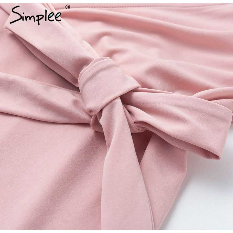 Женское летнее мини-платье с запахом Simplee, 2019 облегающее пикантное приталенное повседневное платье-футболка с коротким рукавом, V-образным вырезом и поясом, розовый, серый и желтый цвета