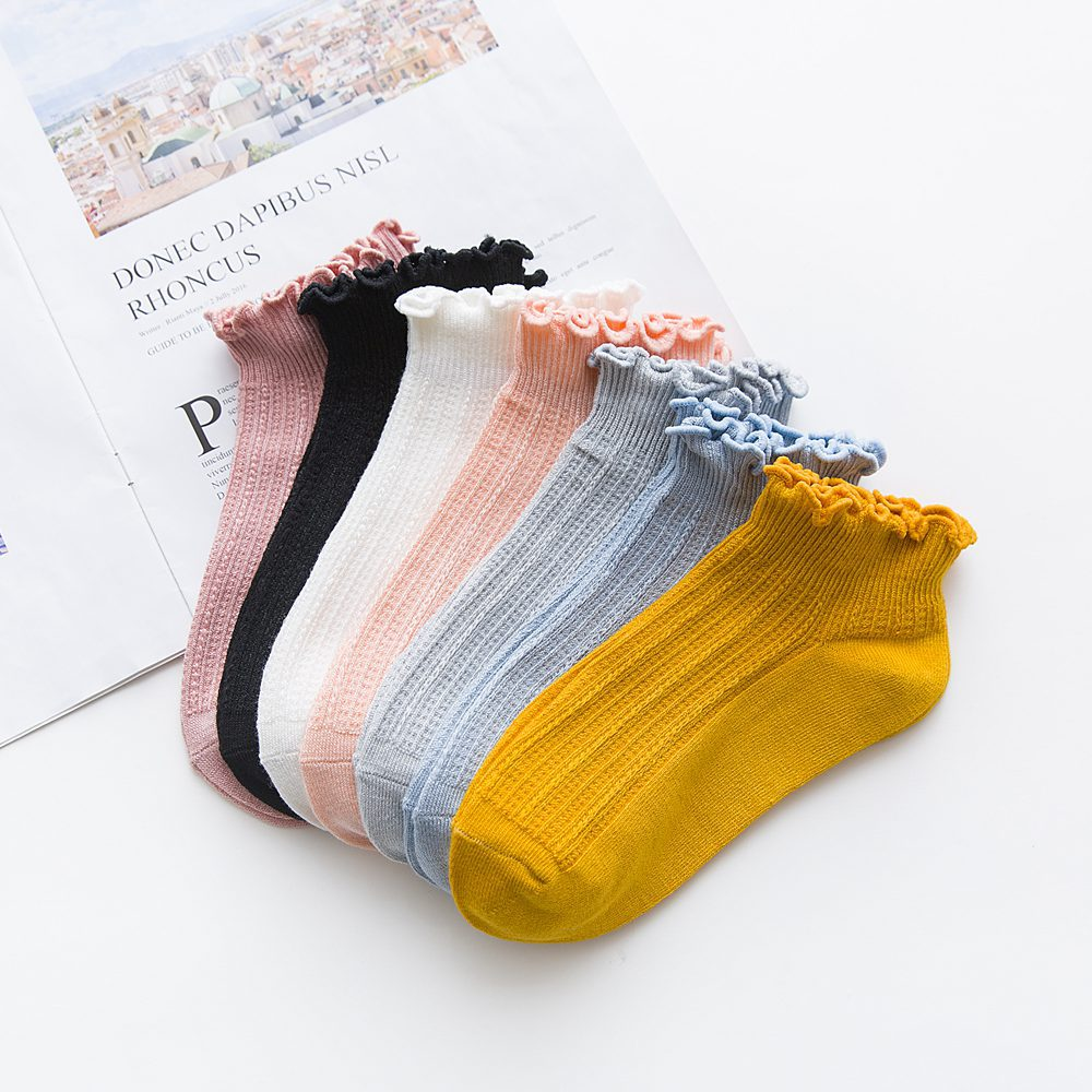 DOIAESKV Bamboo Ruffles Socks Cotton Ankle Lovely Frilly Edge Girls' Women Socks Sweet Casual Short Tube Lady Vintage Ship Socks