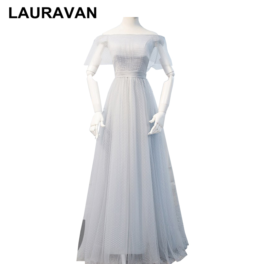 Off Shoulder Gray Bridesmaid Dresses Vintage Occassion Dresses Beautiful Sexy Short Tulle Sleeved Party Dress Teens Ball Gowns